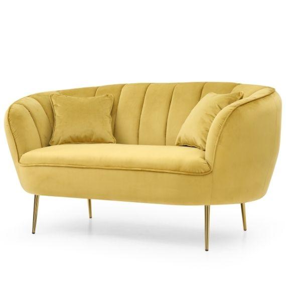 Lexi Velvet Loveseat 2 Seater Sofa - Mustard side view