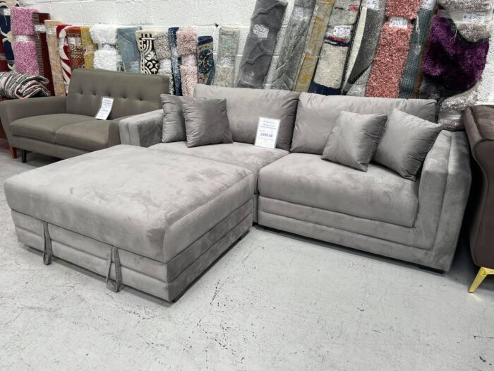 Morgan Velvet 4 Seater Sofa With Storage Ottoman - Grey at Dagenham Store