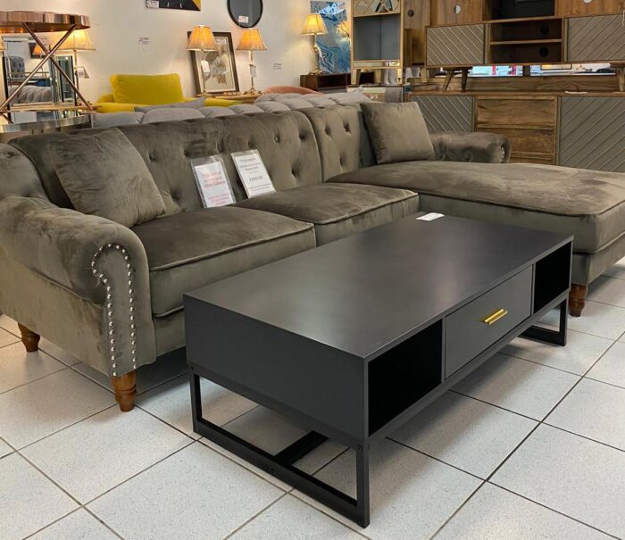 Christie Right Hand Velvet Chaise Corner Sofa - Grey at Leigh-on-Sea Store