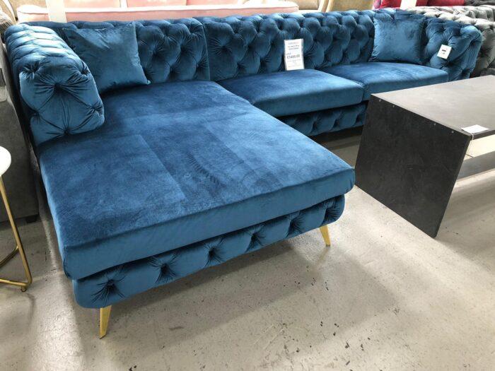 Annabelle Left Hand Velvet Chaise Corner Sofa - Blue at Dagenham Store