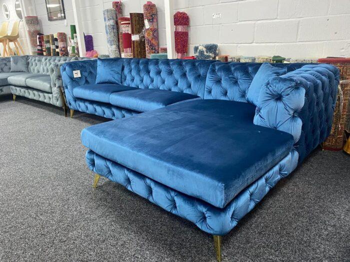 Annabelle Right Hand Velvet Chaise Corner Sofa - Blue at Wickford Store