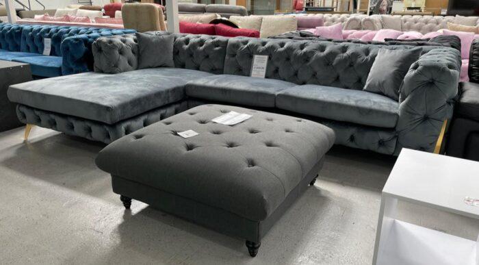 Annabelle Left Hand Velvet Chaise Corner Sofa - Grey at Dagenham Store