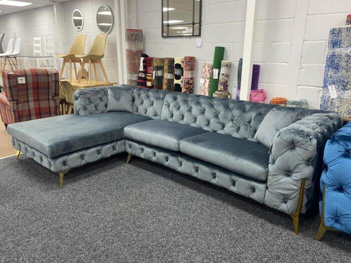 Annabelle Left Hand Velvet Chaise Corner Sofa - Grey at Wickford Store