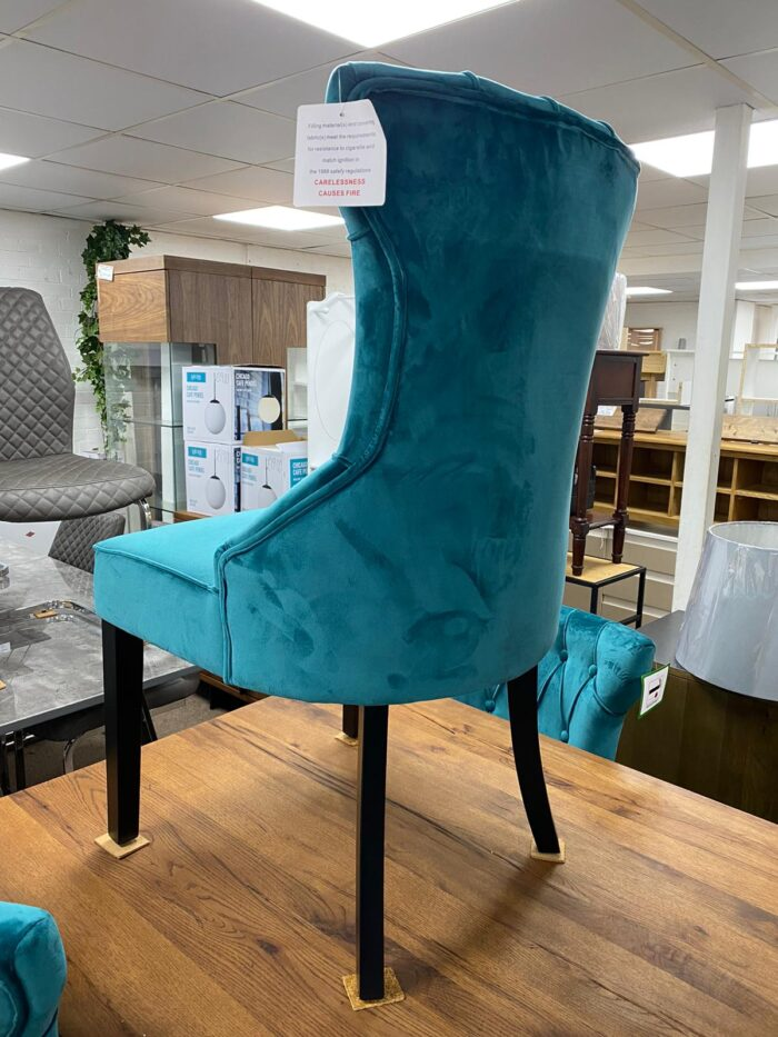 Cleo Velvet Dining Chair With Black Legs - Teal back view