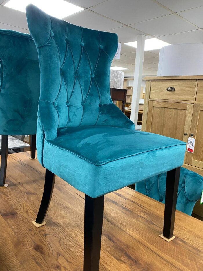 Cleo Velvet Dining Chair With Black Legs - Teal front view