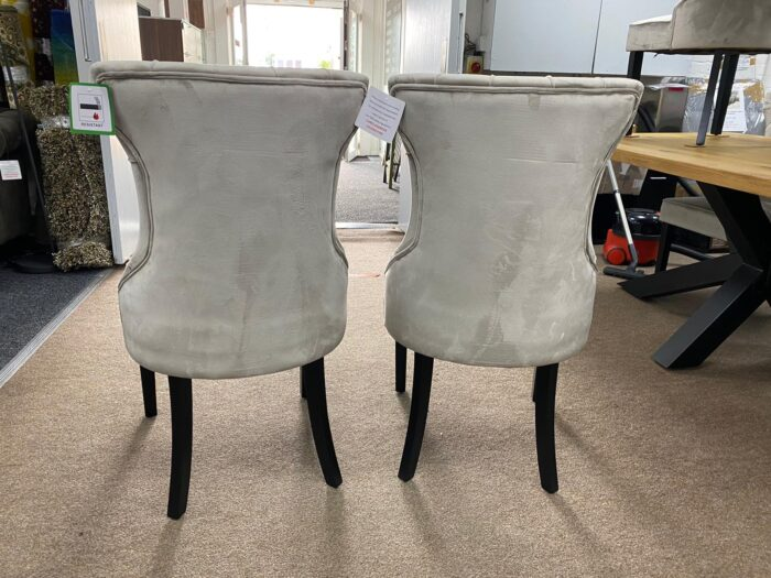 Cleo Velvet Dining Chairs With Black Legs - Mink back view