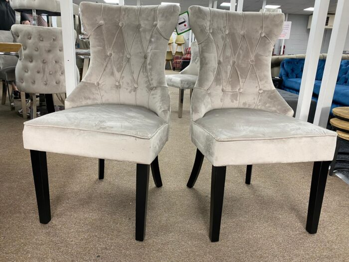 Cleo Velvet Dining Chairs With Black Legs - Mink front view