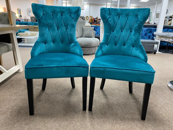 Cleo Velvet Dining Chairs With Black Legs - Teal front view