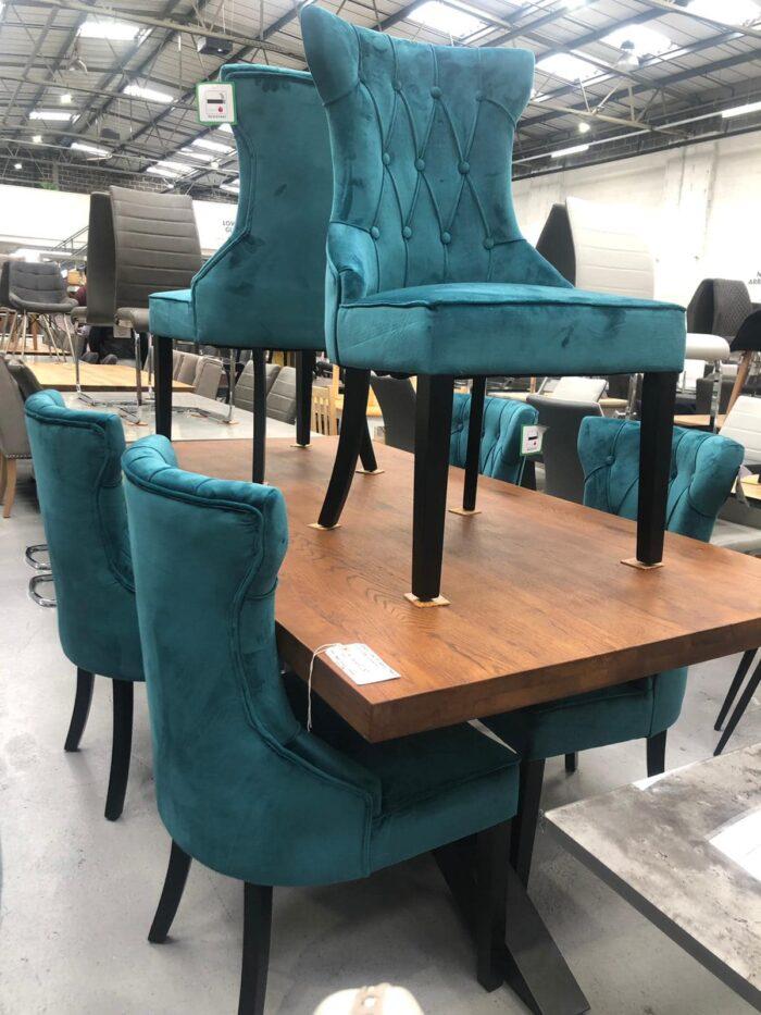 Cleo Velvet Dining Chairs With Black Legs - Teal at Dagenham Store