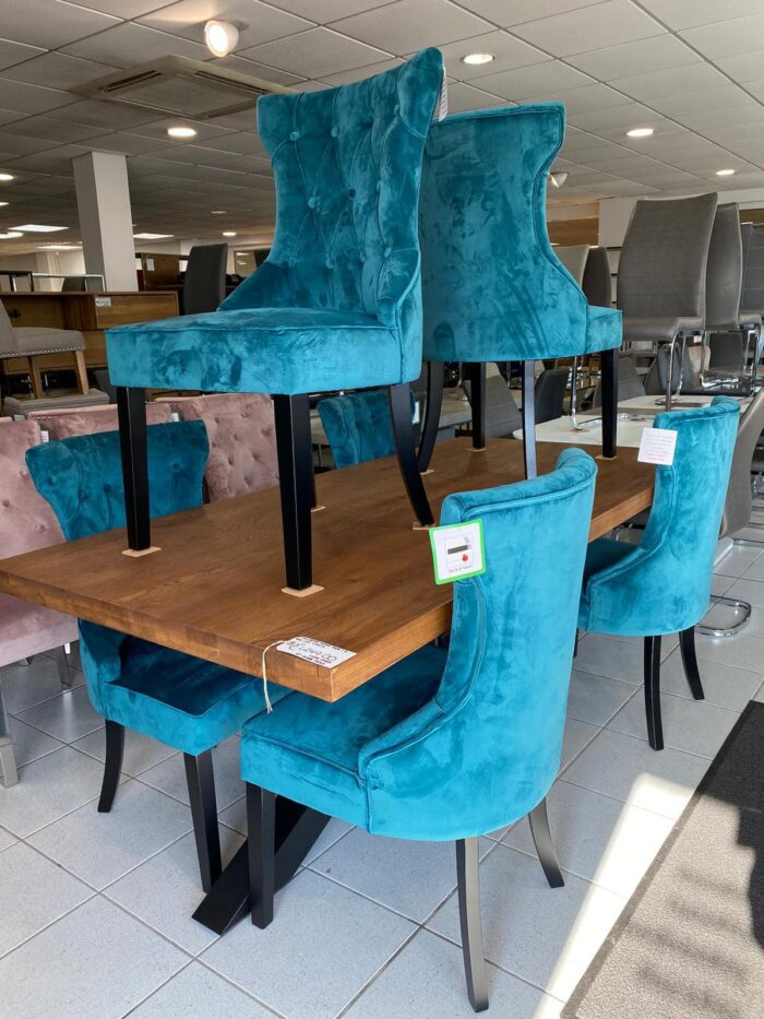 Cleo Velvet Dining Chairs With Black Legs - Teal at Leigh-on-Sea Store