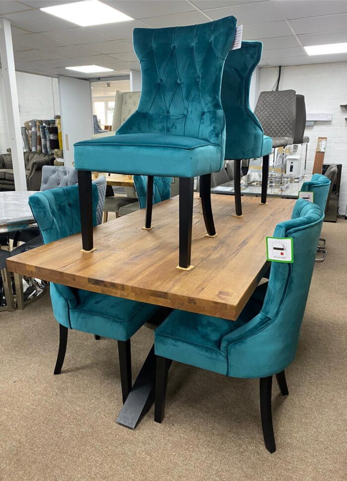 Cleo Velvet Dining Chairs With Black Legs - Teal at Wickford Store