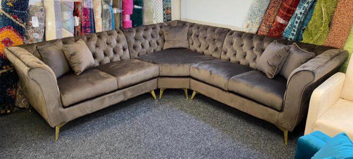 Lauren Velvet Modern Chesterfield Corner Sofa - Fawn