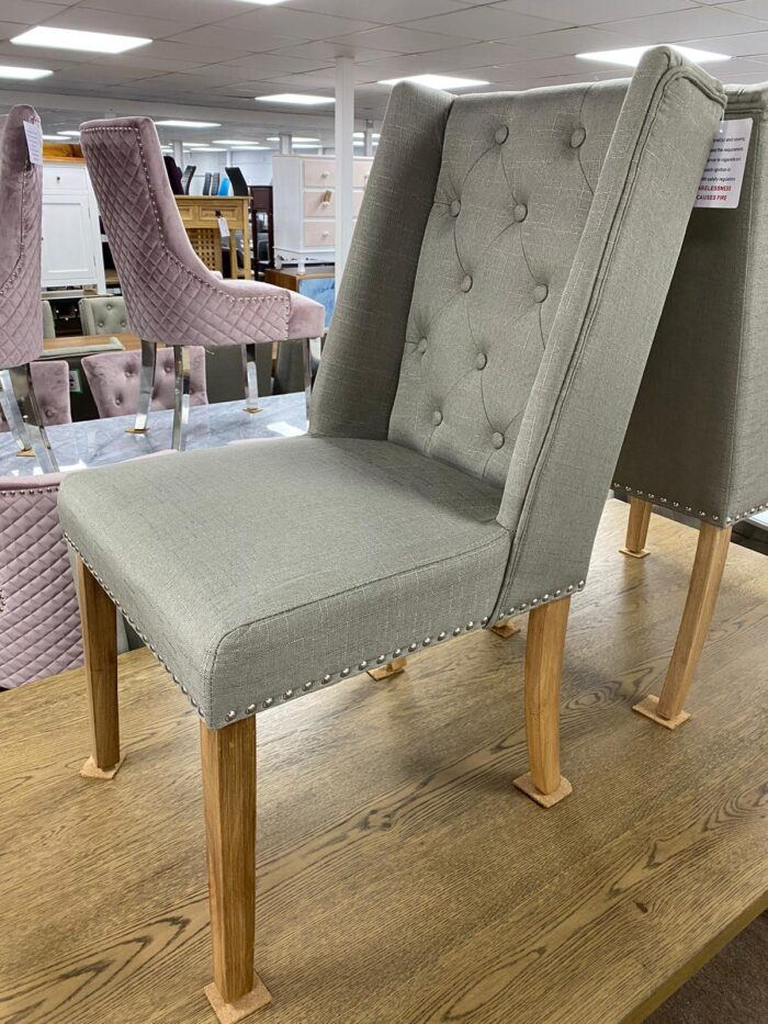 Lulu Fabric Dining Chair With Oak Legs - Grey front view
