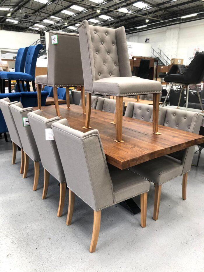 Lulu Fabric Dining Chairs With Oak Legs - Grey at Dagenham Store