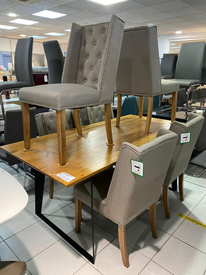 Lulu Fabric Dining Chairs With Oak Legs - Grey at Leigh-on-Sea Store