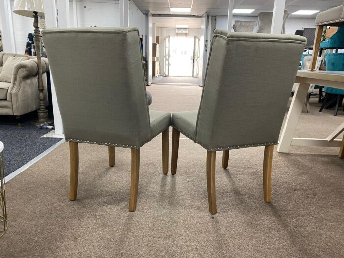 Lulu Fabric Dining Chairs With Oak Legs - Grey back view