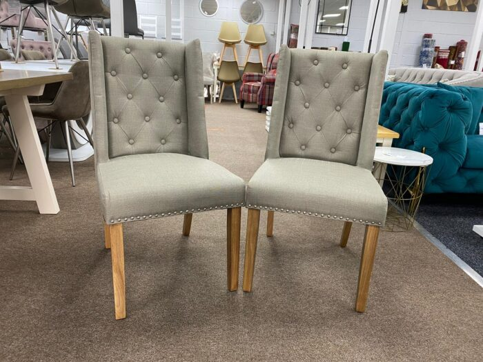 Lulu Fabric Dining Chairs With Oak Legs - Grey front view