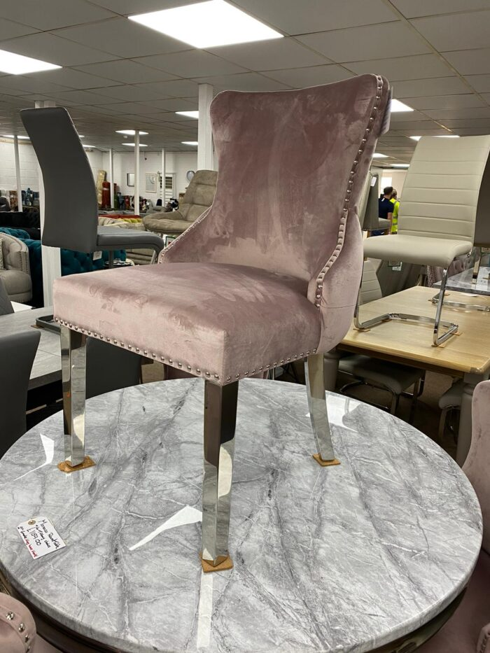 Tiffany Velvet Dining Chair With Metal Legs - Blush front view