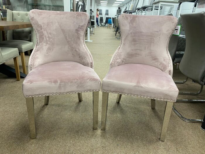 Tiffany Velvet Dining Chairs With Metal Legs - Blush front view