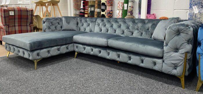 Annabelle Left Hand Velvet Chaise Corner Sofa - Grey