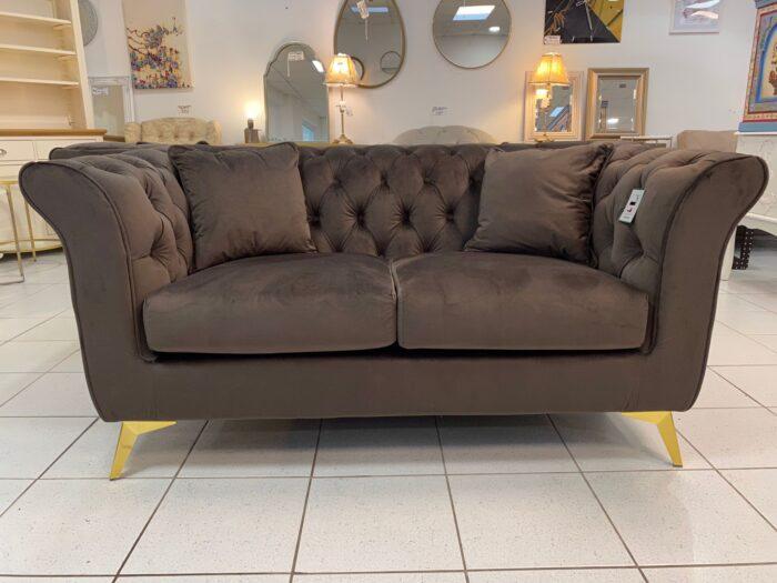 Lauren Velvet 2 Seater Chesterfield Sofa - Brown