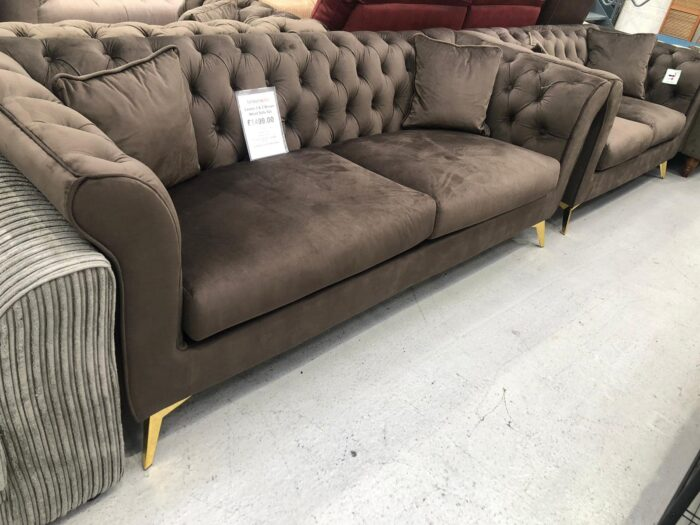 Lauren 3 Seater & 2 Seater Chesterfield Sofa Set - Brown
